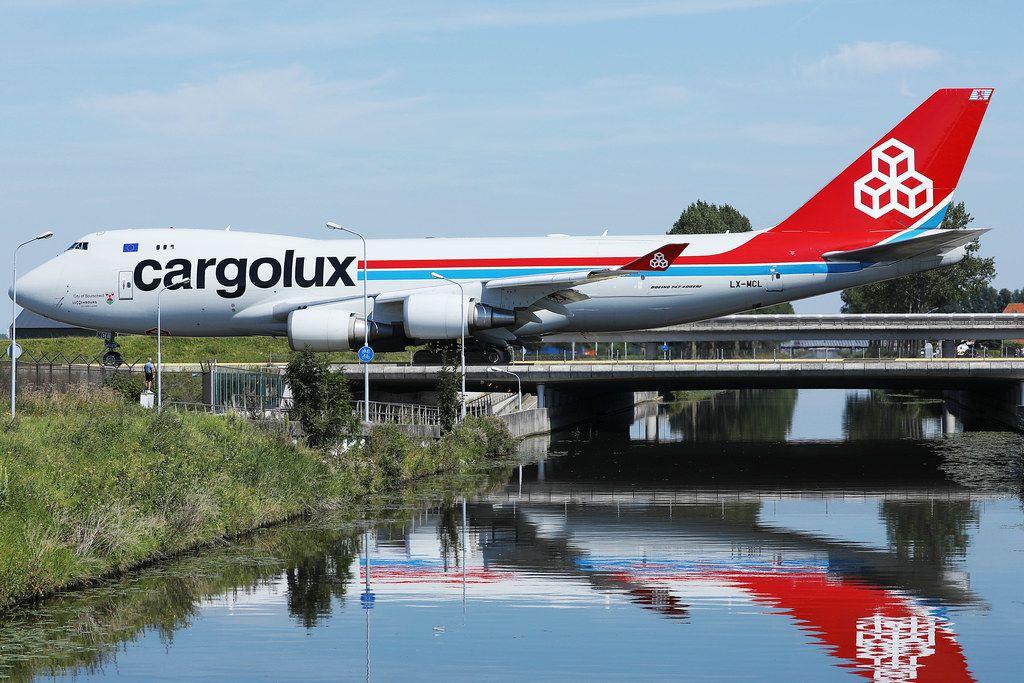 Cargolux jumbo taxiing on the bridge at Amsterdam Airport AMS