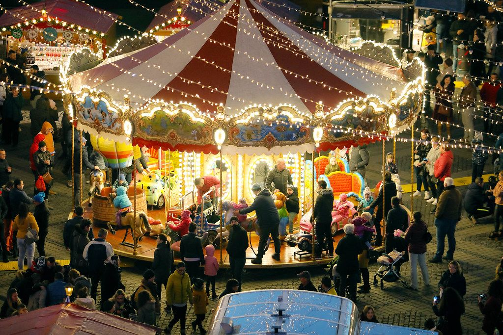 Carousel in Christmas market, night view (Flip 2019)
