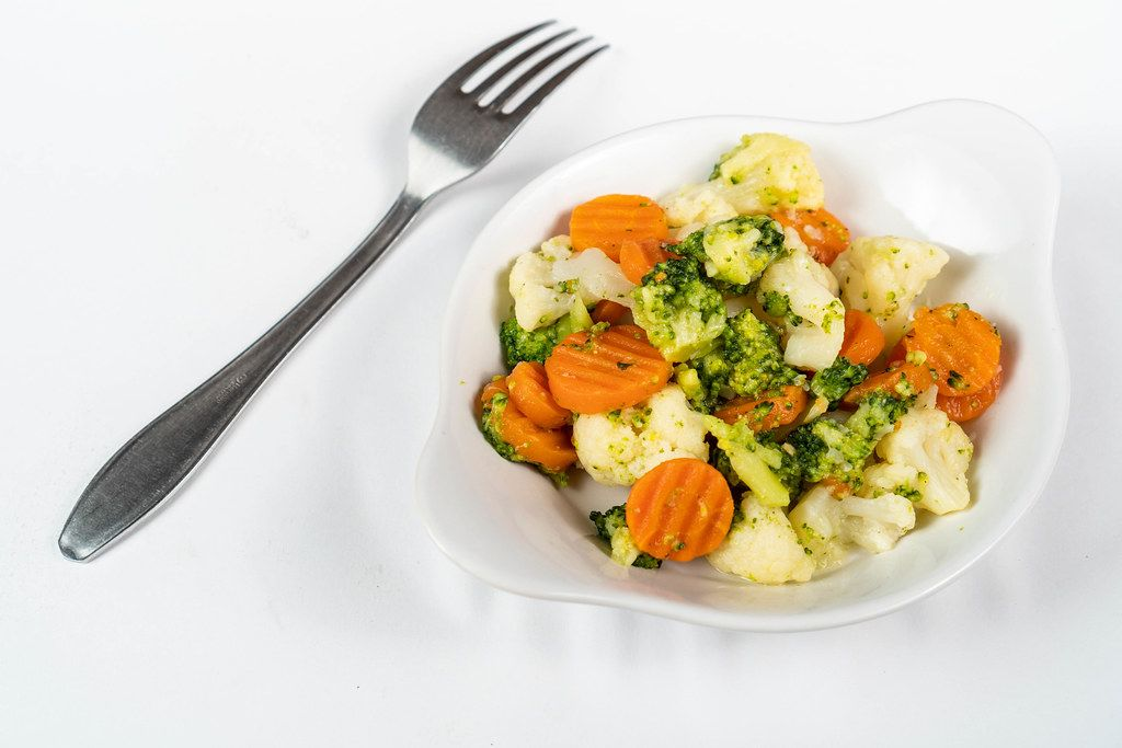 Carrot and Cauliflower salad served in the bowl