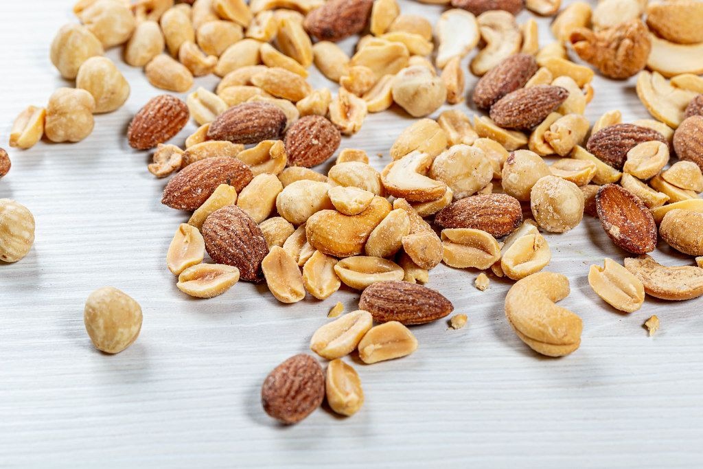 Cashews, hazelnuts, almonds and peanuts-salted roasted nuts