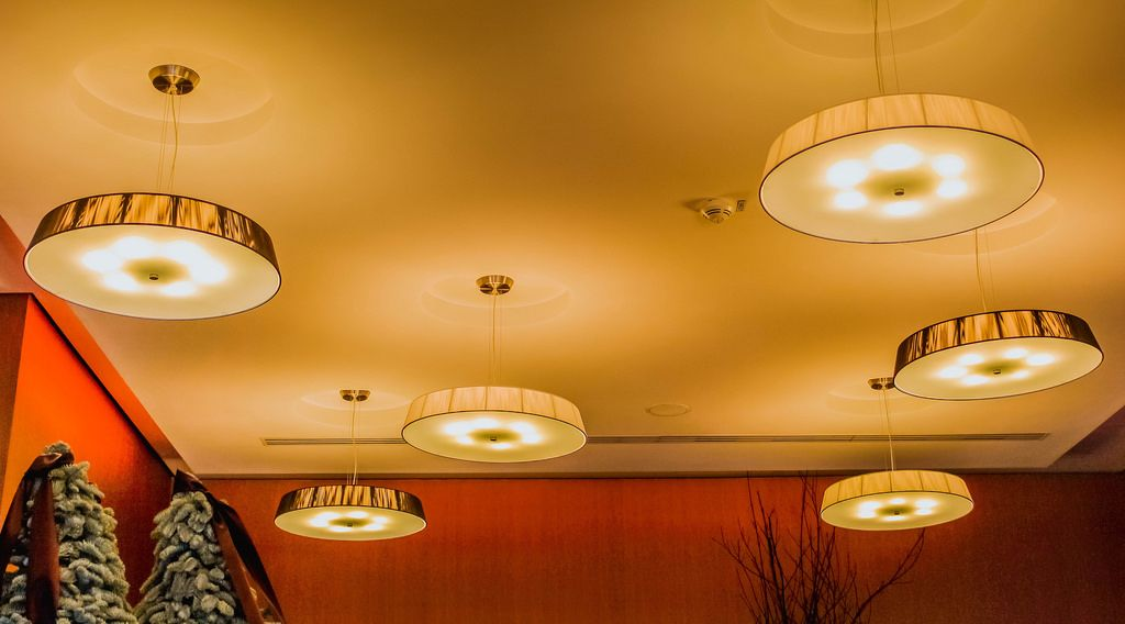 Ceiling lights in a hotel