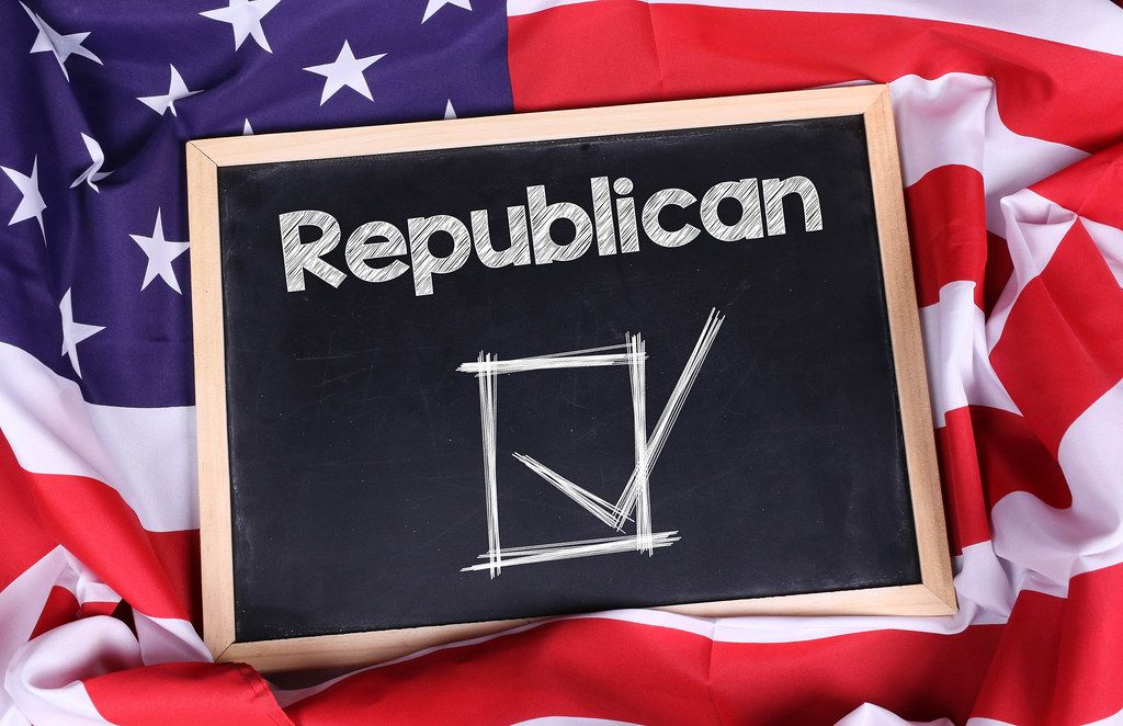 Chalkboard with Republican text on American flag