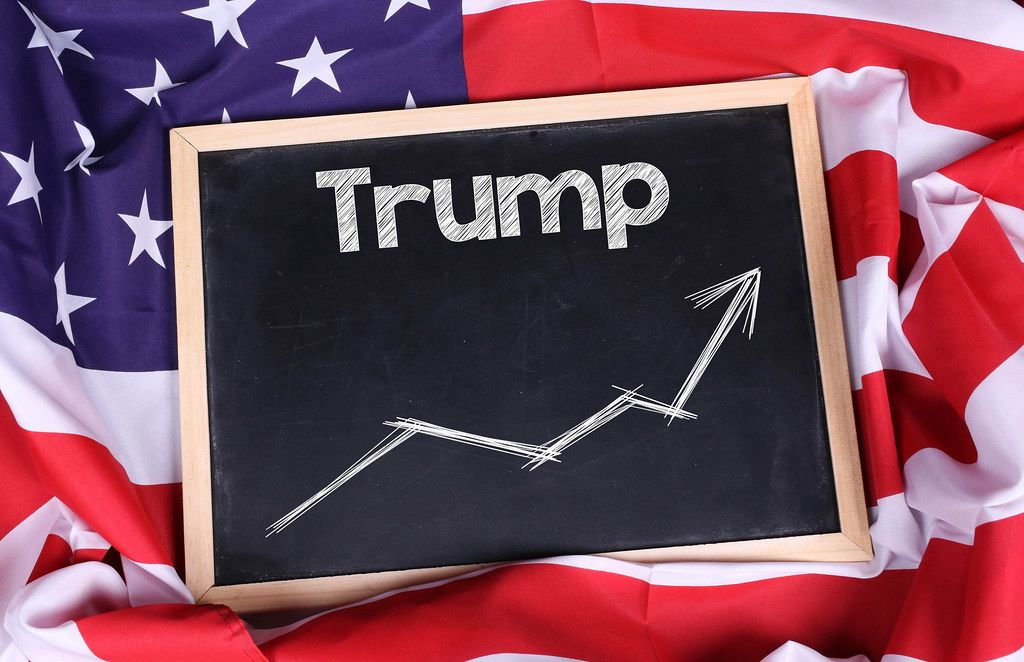 Chalkboard with Trump text on American flag