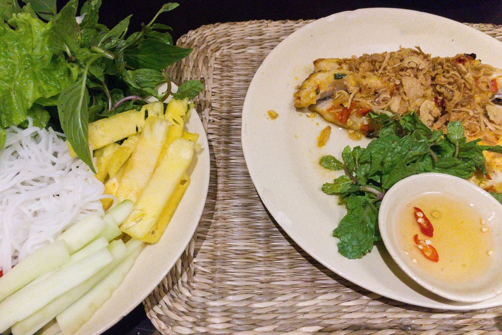 Char grilled Fish Grouper with Chili Salad