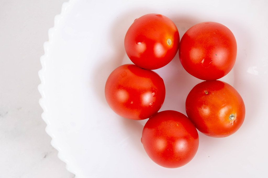 Cherry Tomatoes in the white bowl