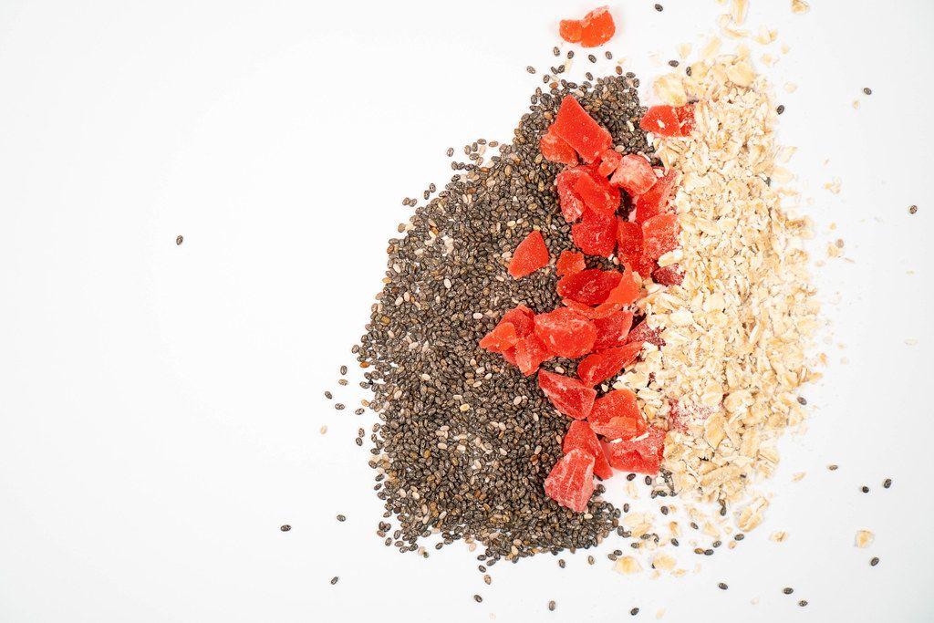 Chia Seeds, Dried Papaya and Oatmeal with copy space