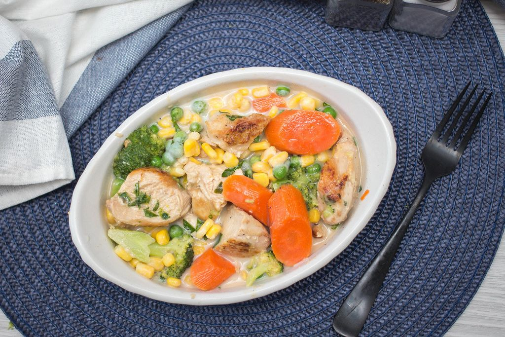 chicken Casserole wiht Carrot, Broccoli and Corn Top View