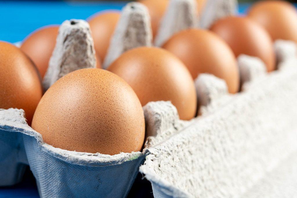 Chicken Eggs in the cardboard box