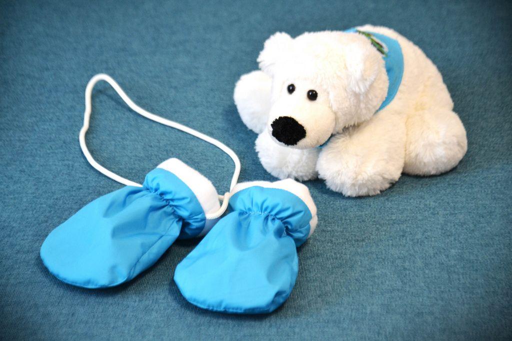 Children's mittens and white bear