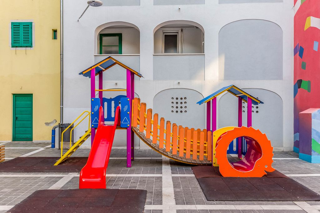 Children's playground with street art