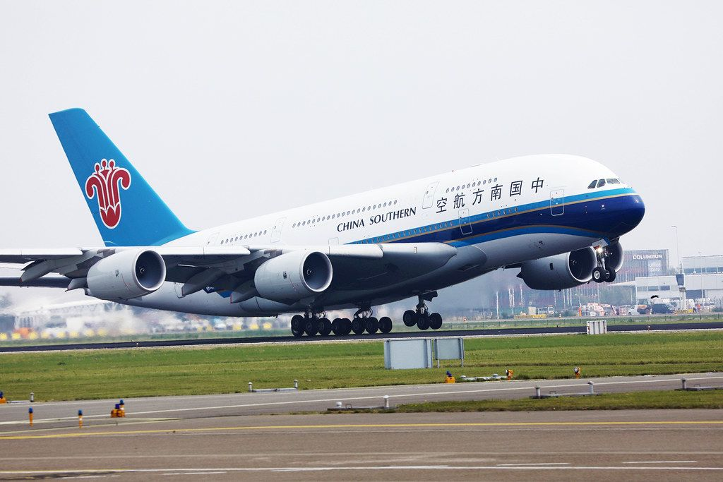 China Southern Airbus A380 taking off from Amsterdam Airport