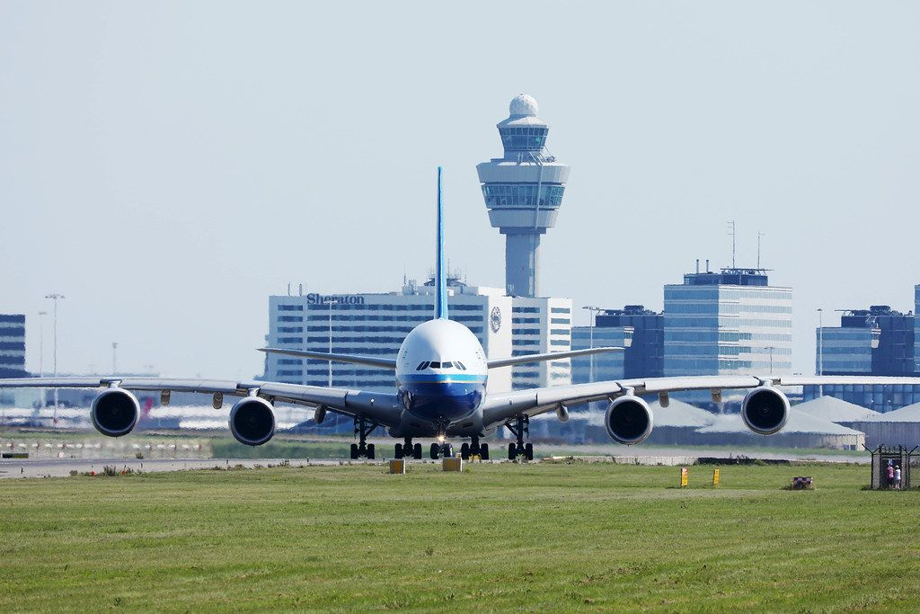 China Southern Airlines A380 at Amsterdam Airport, front view