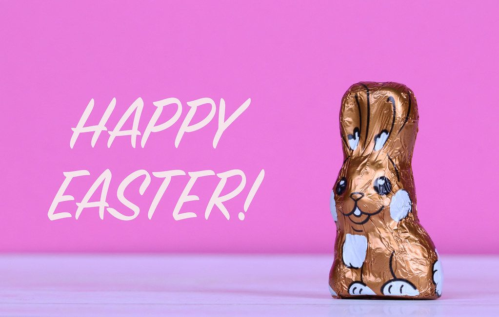 Chocolate Easter bunny with Happy Easter text