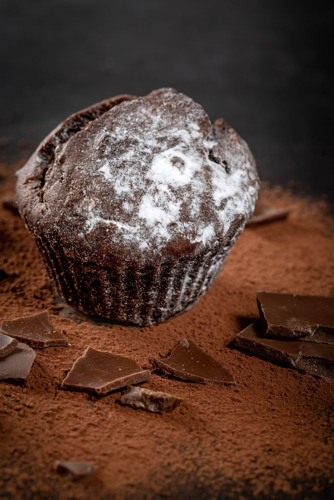 Chocolate muffin with cocoa and powdered sugar
