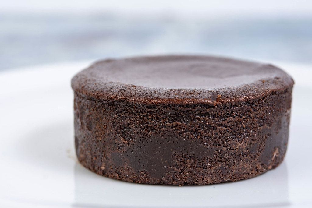 Chocolate Souffle on the white plate