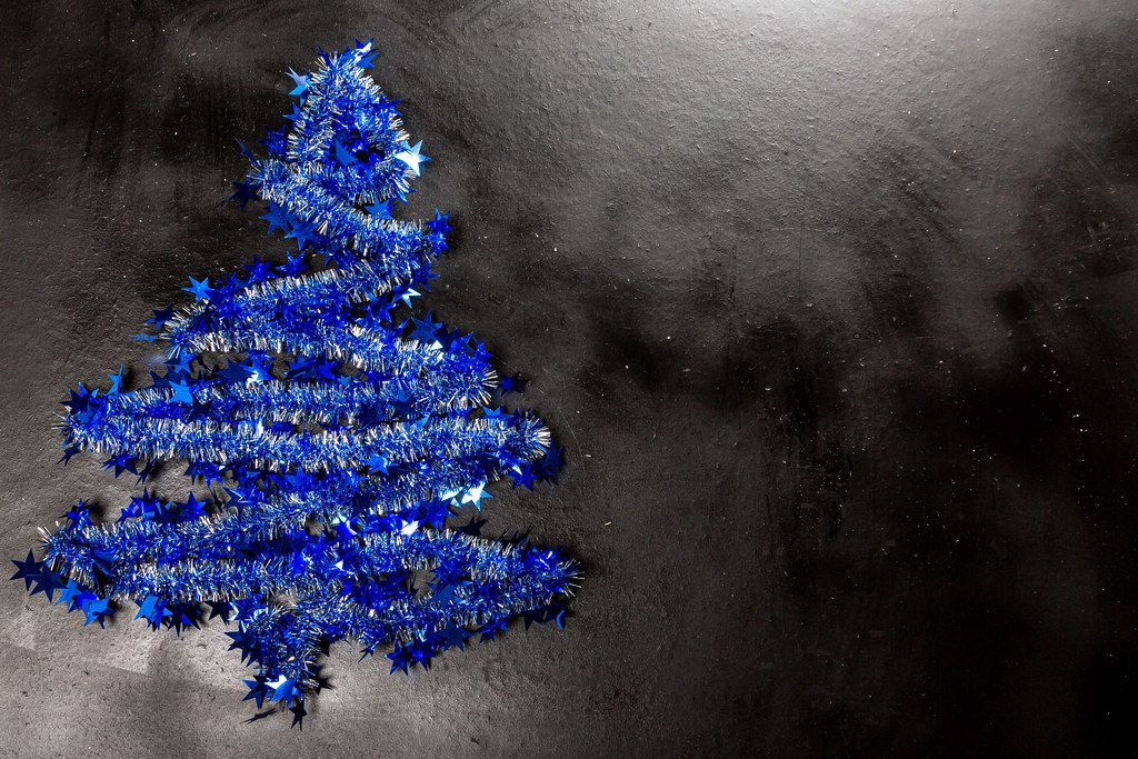 Christmas background with blue christmas tree (Flip 2019)