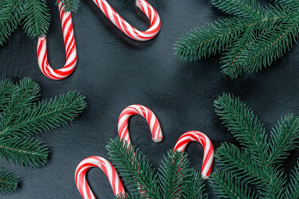 Christmas background with Christmas tree branches and cane candies (Flip 2019)
