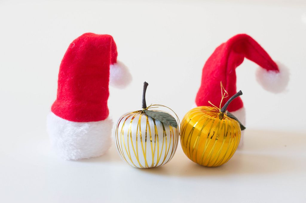 Christmas hats and apples