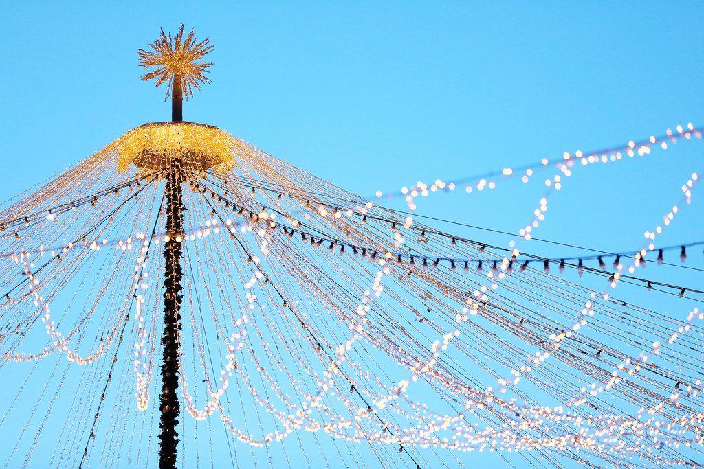 Christmas lights, decoration at Christmas fair