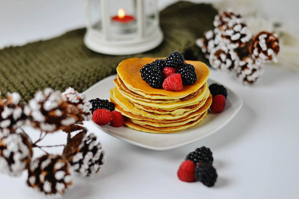 Christmas pancakes with with mix of berries