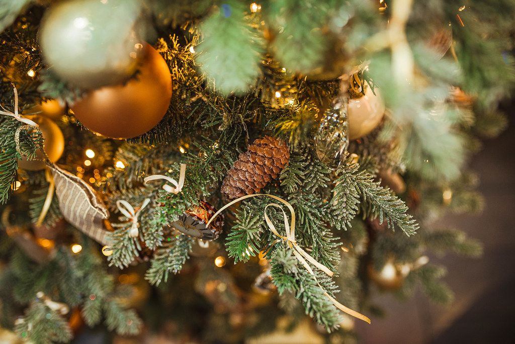 Christmas Pine With Golen Balls And Lights (Flip 2019)