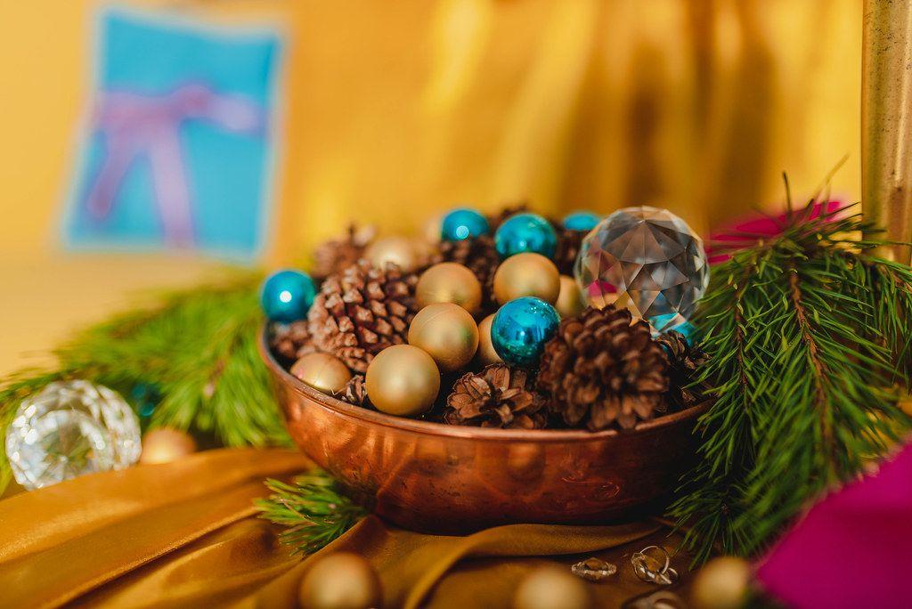 Christmas Set Wuth Pines, Balls And Crystal