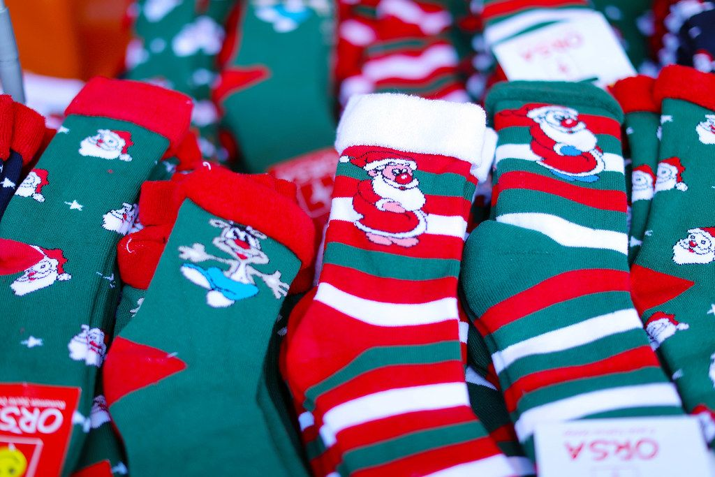 Christmas socks with Santa Claus and reindeer