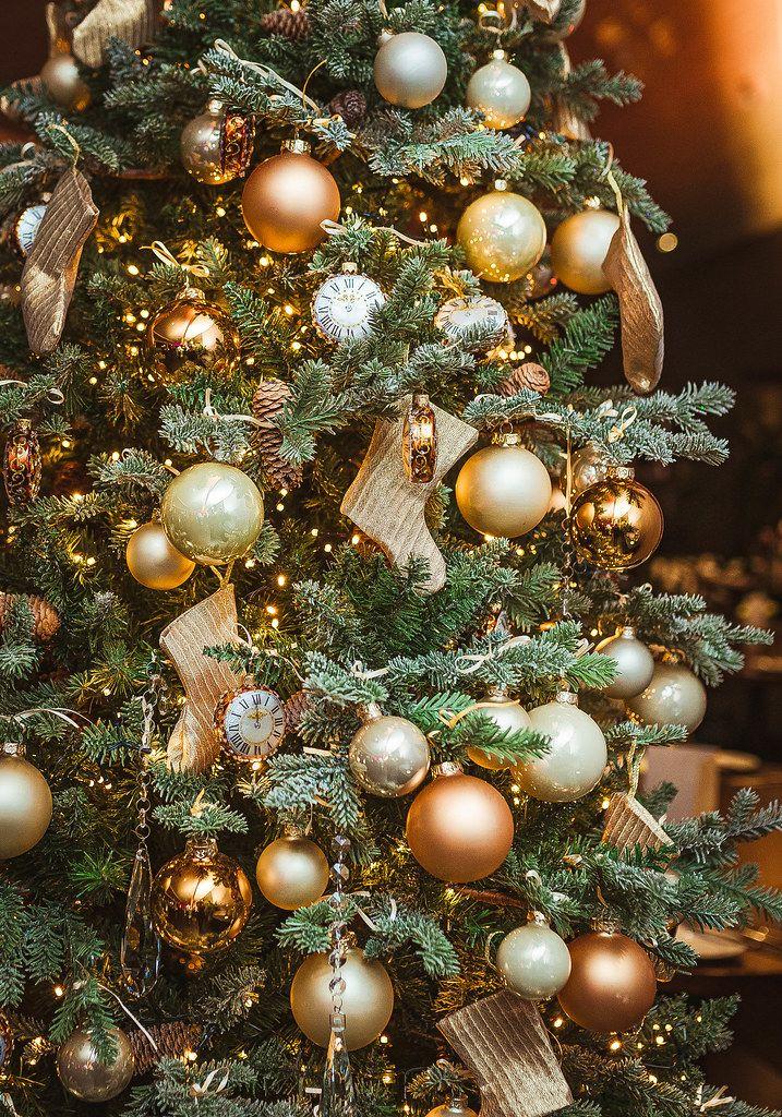 Christmas Tree With Golden Balls, Socks And Clocks