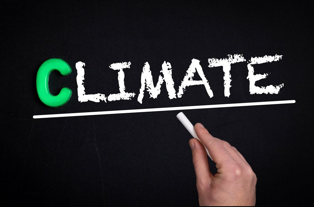 Climate text on blackboard