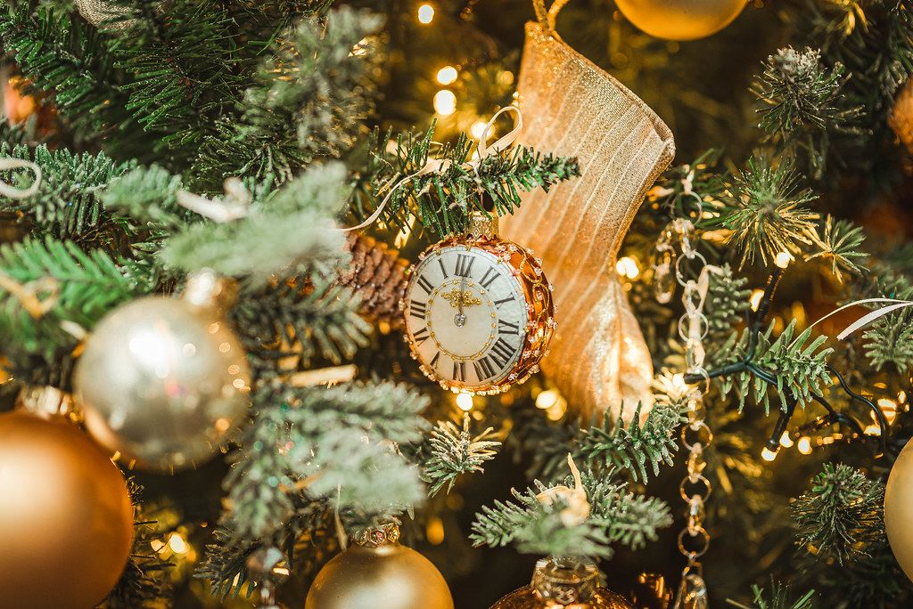 Clock Decor On Christmas Tree With Sock And Golden Balls (Flip 2019)