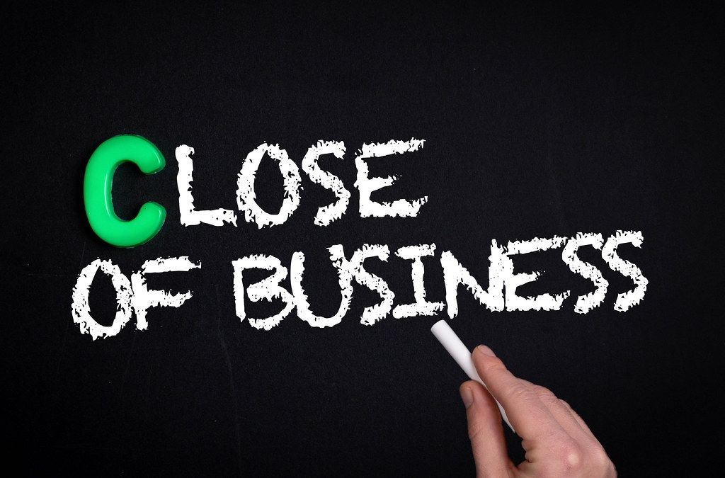 Close of Business text on blackboard