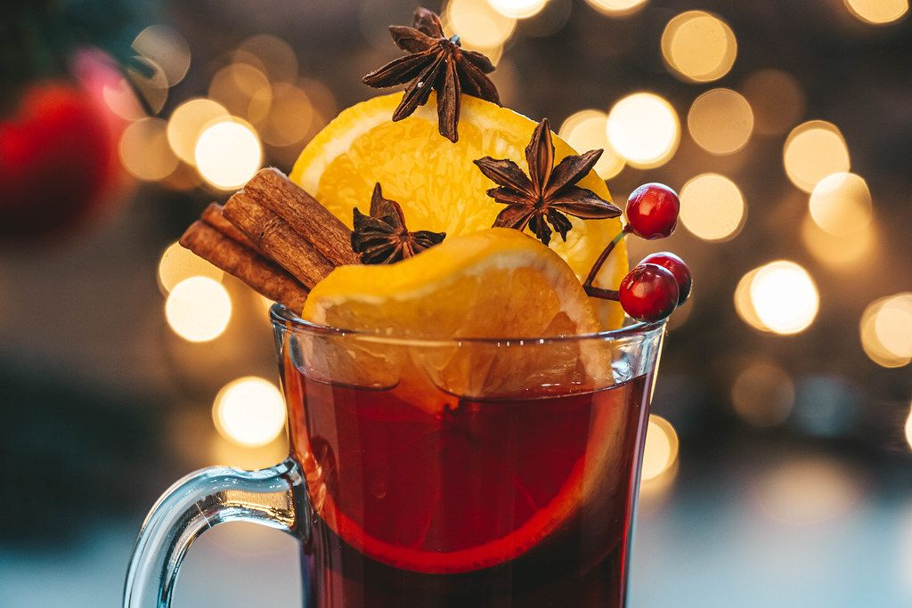 Close-up glass of mulled wine on a Christmas background (Flip 2019)