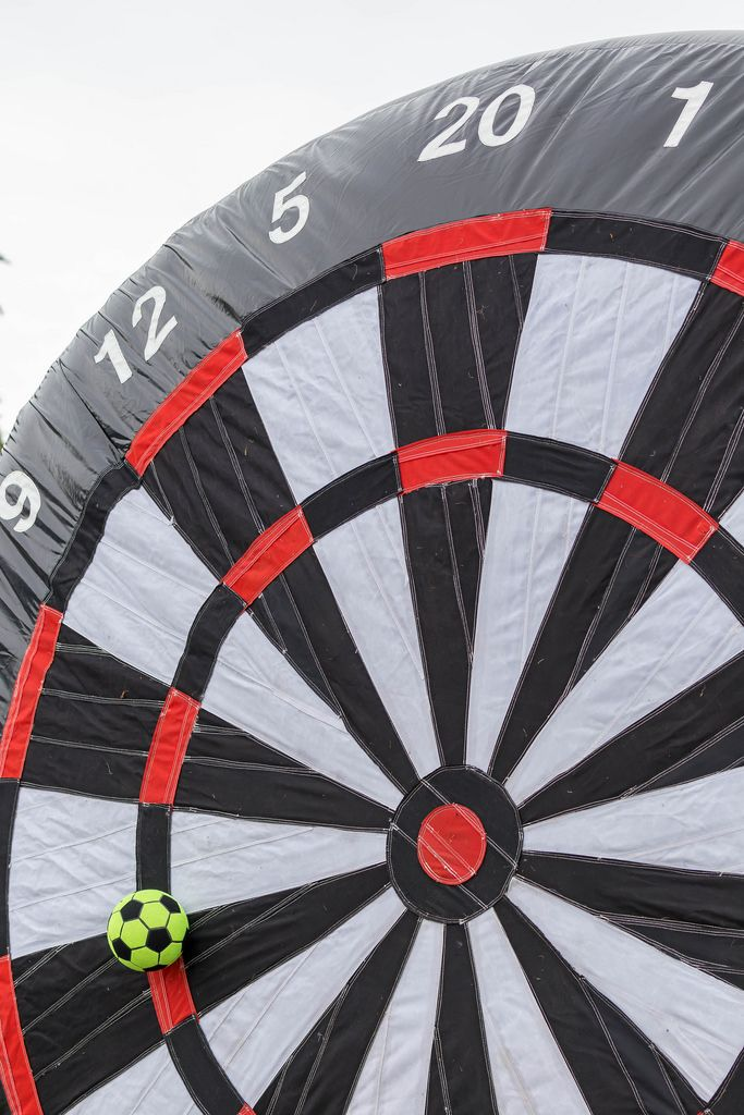 Close-up of a huge inflatable foot darts target
