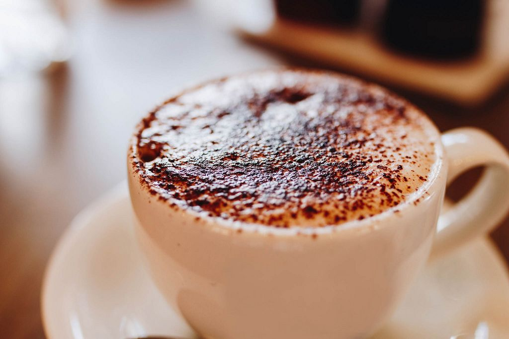 Close up of cappuccino with chocolate on top