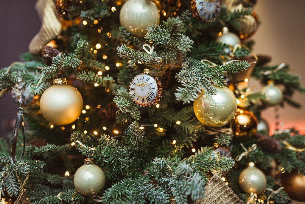Close Up Of Christmas Tree Decor Clock (Flip 2019)