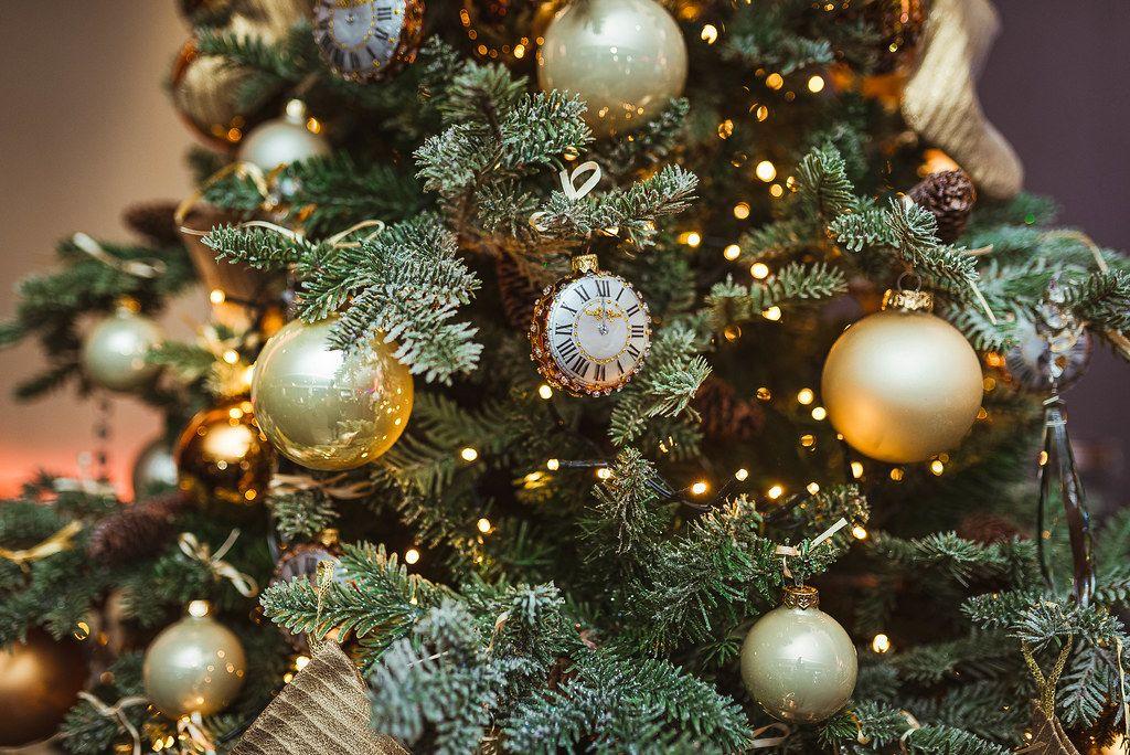 Close Up Of Christmas Tree Decor Clock