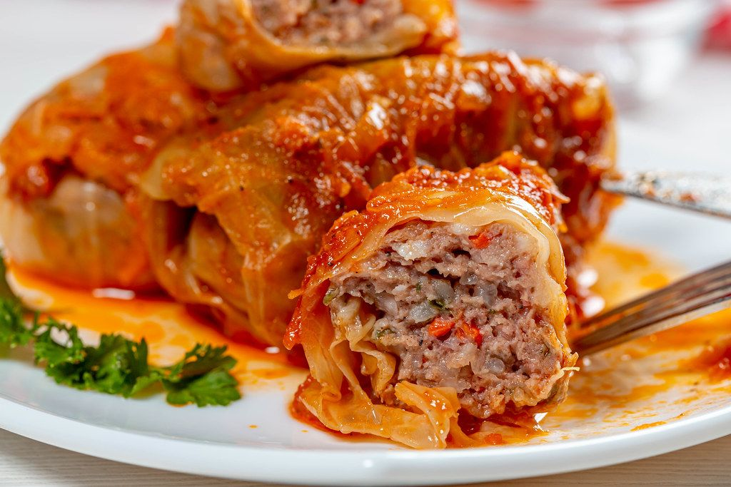 Close-up of cut stuffed cabbage with minced meat and rice inside (Flip 2019)
