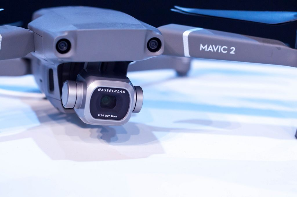 Close-up of DJI Mavic 2 Pro square gimbal with Hasselblad camera