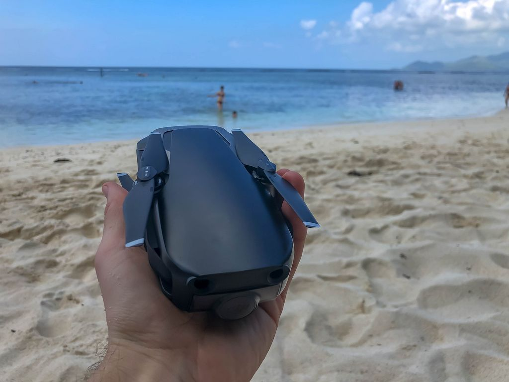 Close up of DJI Mavic Air Drone on Anse Source d'Argent Beach in La Digue, Seychelles in February 2019