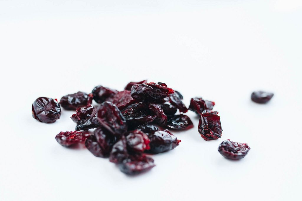 Close up of dried cranberries
