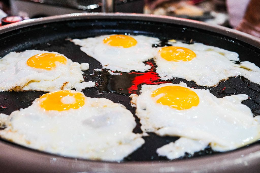 Close up of fresh eggs being fried (Flip 2019)