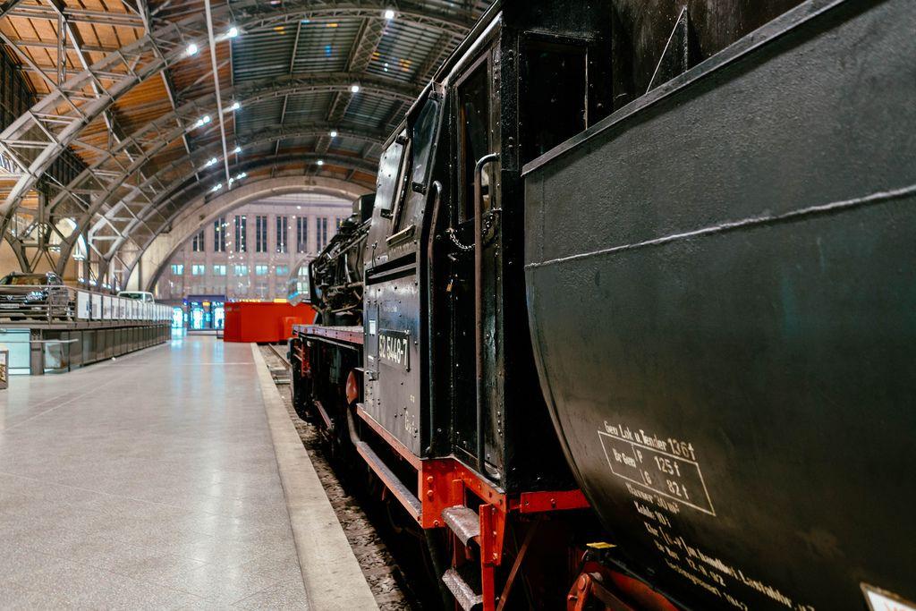 Close up of German steam locomotive entrance door