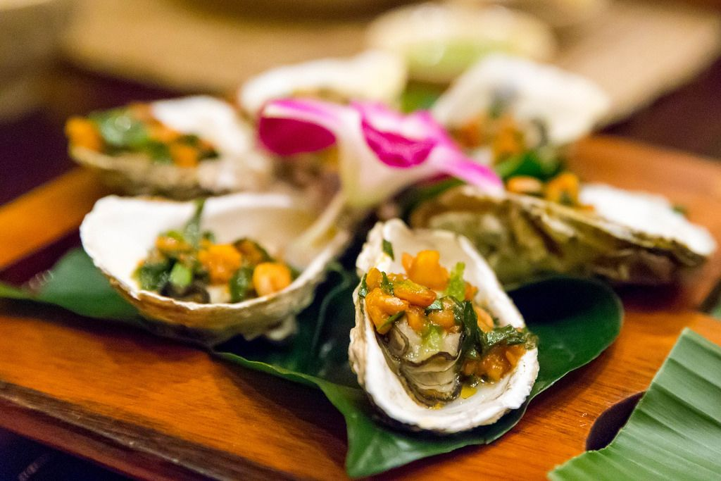 Close-Up of Grilled Oysters with Spring Onion Salsa