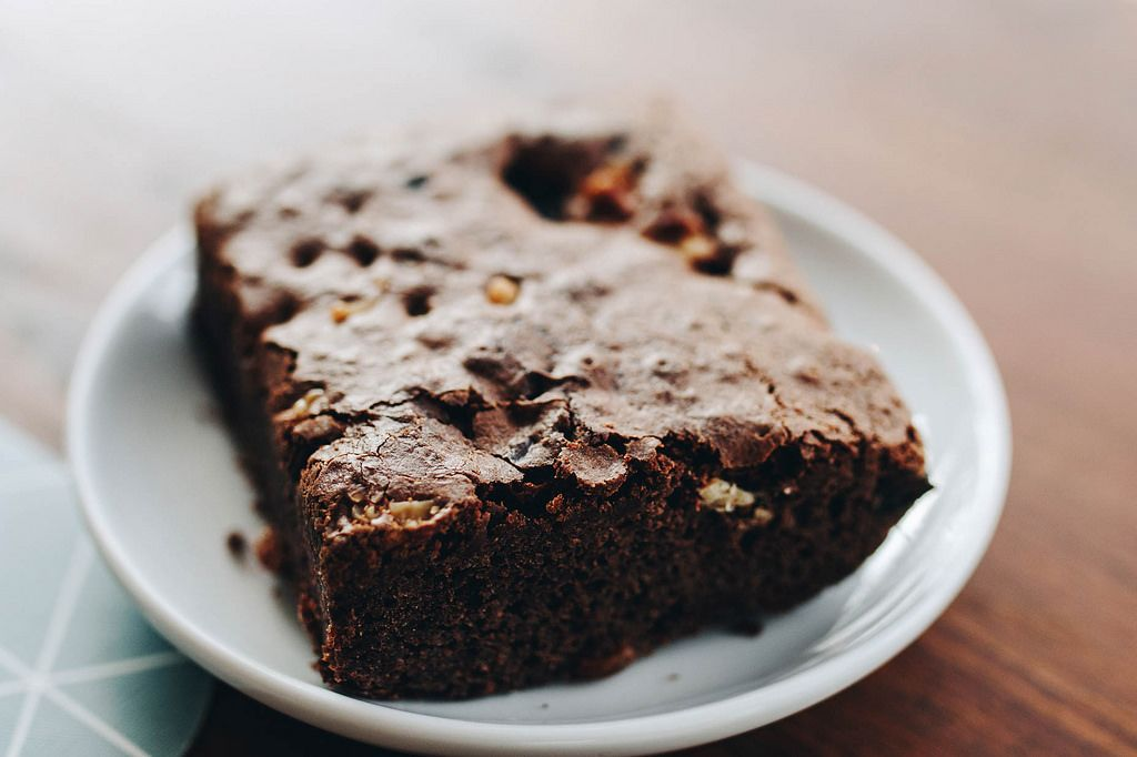 Close up of homemade chocolate brownie