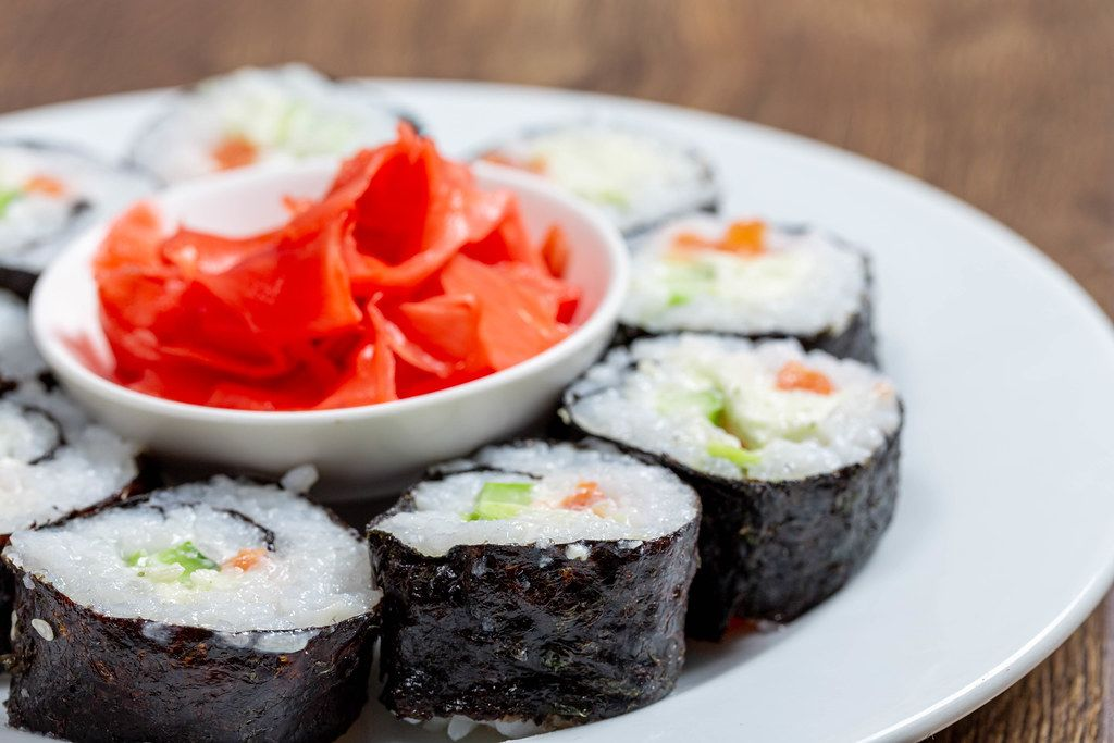 Close-up of homemade sushi rolls with pickled ginger (Flip 2019)