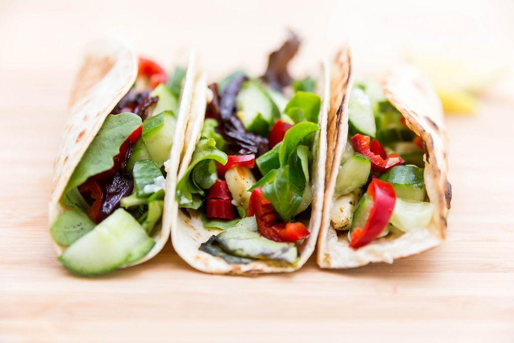 Close-up of hot halloumi tacos by Hellofresh