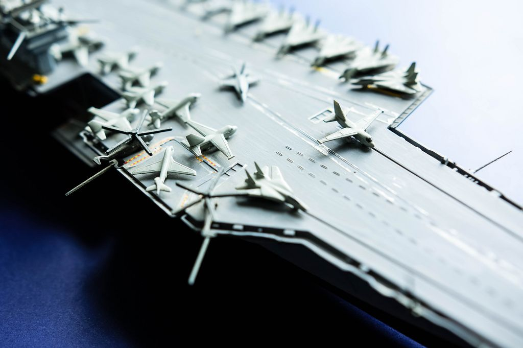 Close up of mini battleship