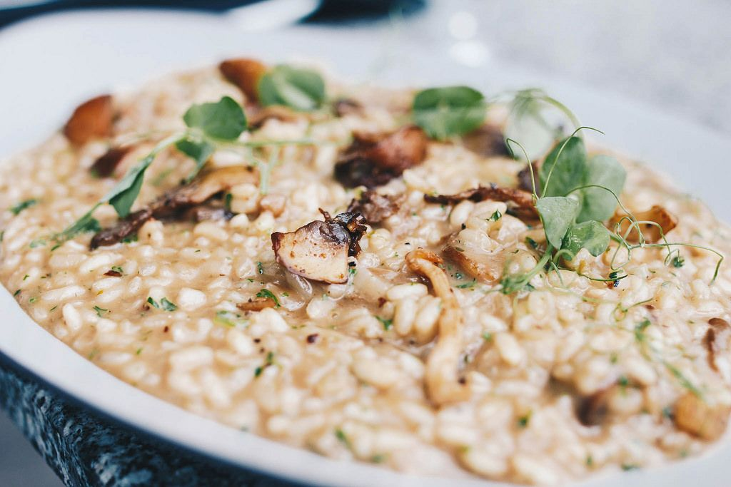 Close up of risotto with mushrooms