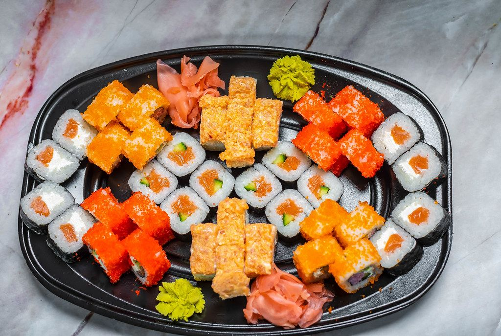 Close Up Of Sushi Set nigiri and sushi rolls for two top view (Flip 2019)