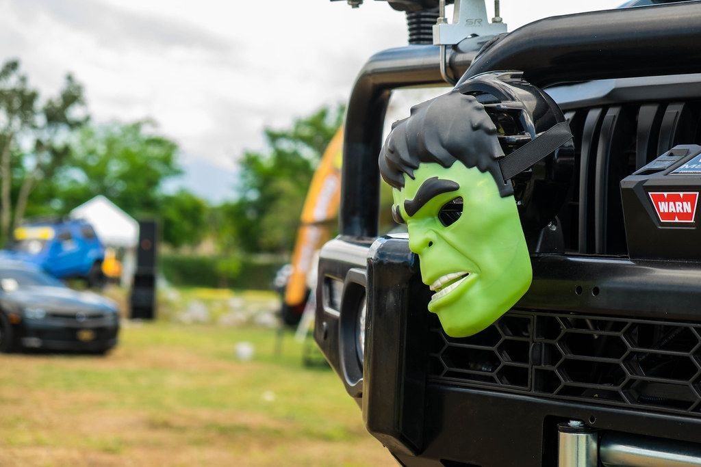 Close up of the Hulk's mask on a front bumper